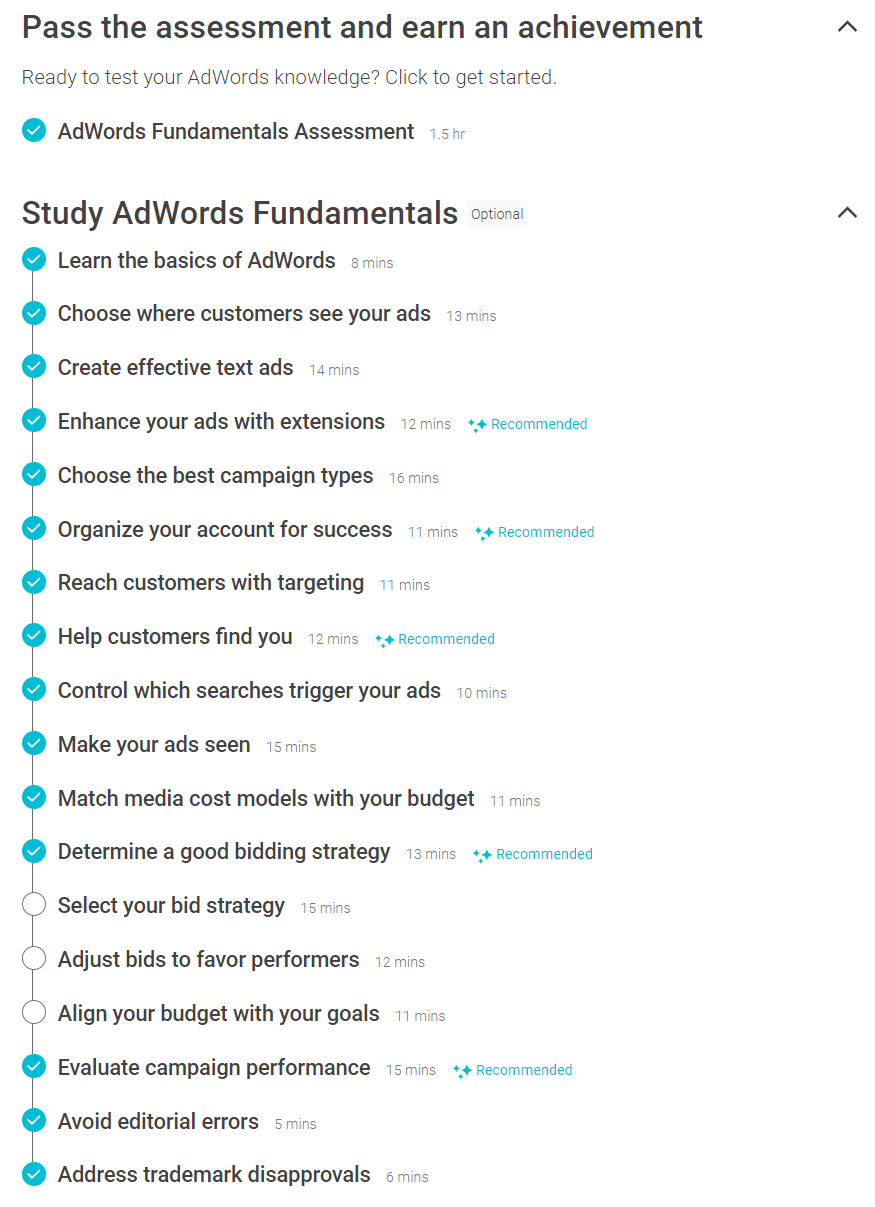 Adwords Fundamentals Checklist