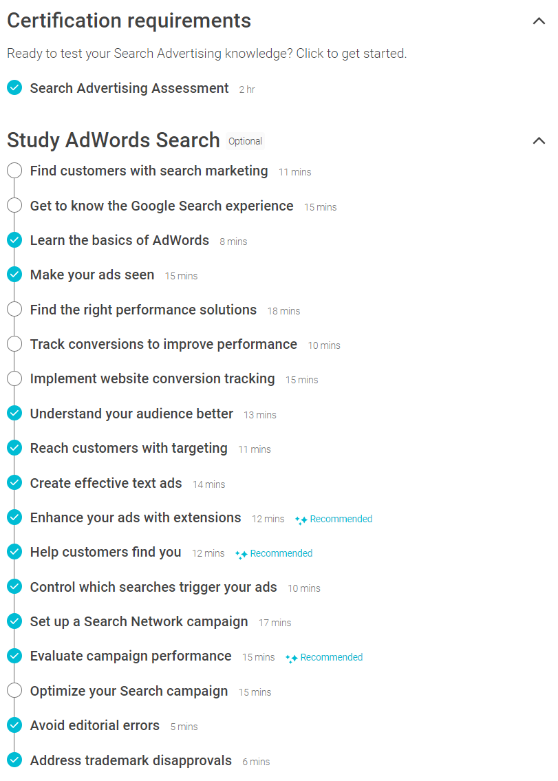 Adwords Search Certification Checklist