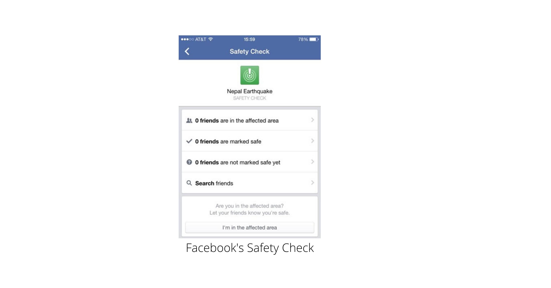 Social media in crises image - FB Safety Check