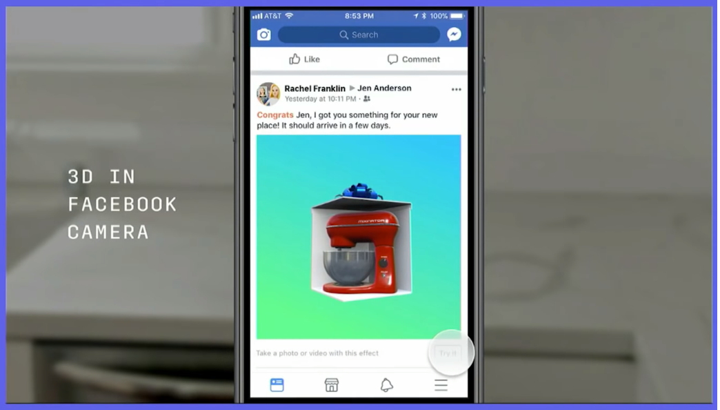 3D in Facebook Camera Example