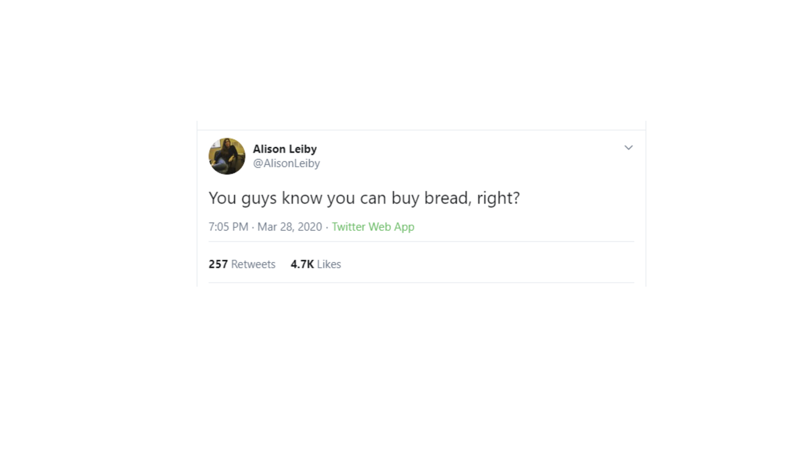 What have we learned blog image - Buying bread tweet