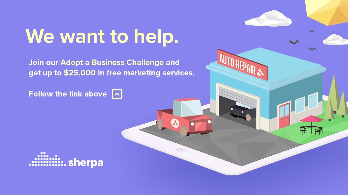 Cartoon car and repair shop