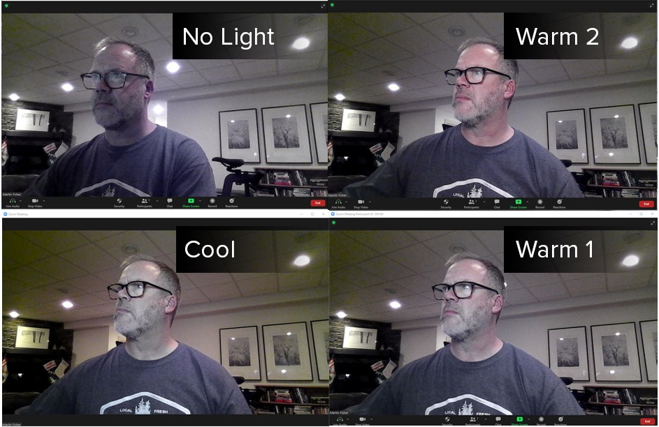Quadrant showing 4 test lighting results.